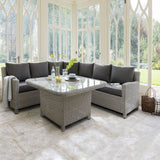 Kettler Palma Grande Corner Sofa Set with Glass Top Table White Wash
