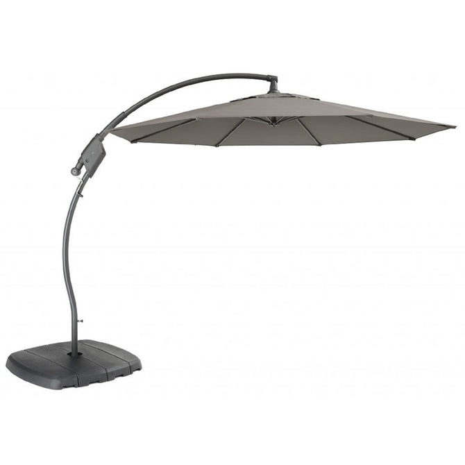 Kettler 3m Free Arm Cantilever Parasol with Base Slate Grey