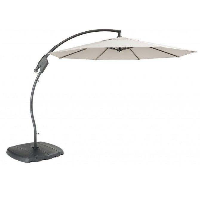 Kettler 3m Free Arm Cantilever Parasol with Base Natural