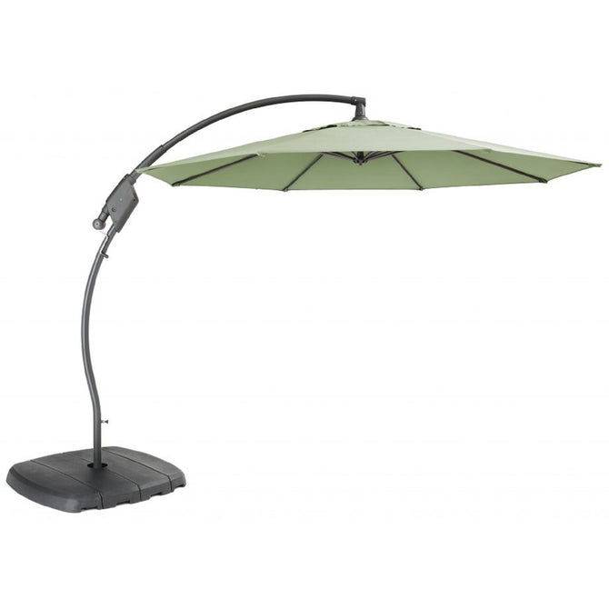 Kettler 3m Free Arm Cantilever Parasol with Base Sage Green