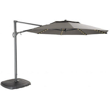 Kettler 3.3m Taupe Free Arm Cantilever Parasol with LED Lights and Bluetooth Speaker