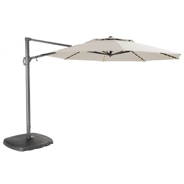 Kettler 3.3m Natural Free Arm Cantilever Parasol with LED Lights and Bluetooth Speaker