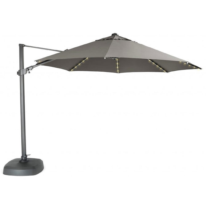 Kettler 3.5m Taupe Free Arm Cantilever Parasol with LED Lights and Bluetooth Speaker