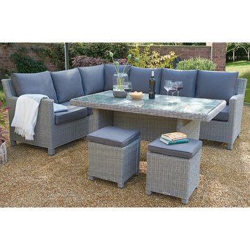Kettler Palma Corner Rattan Outdoor Sofa Set -White Wash