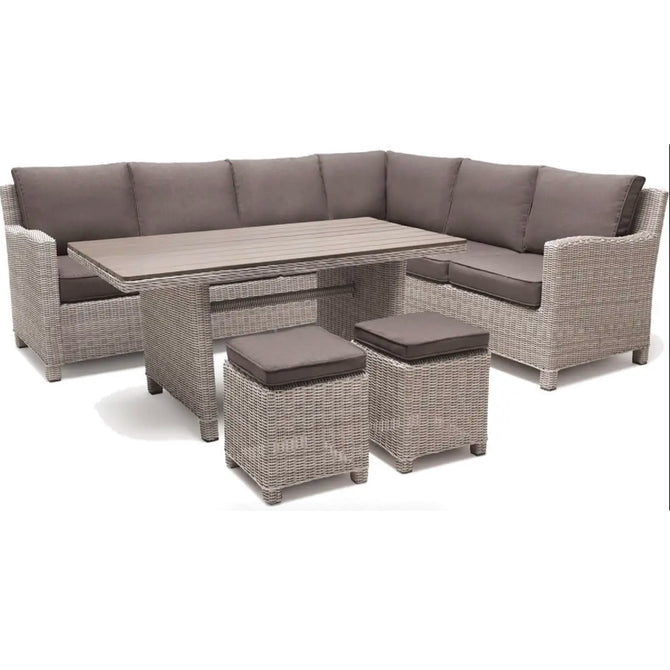 Kettler Palma Corner Left Hand White Wash Wicker Outdoor Sofa Set with Slat Top Table