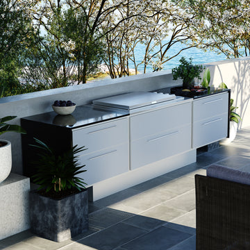 Profresco Proline Flat Lid 6 Burner Barbecue Aero Outdoor Kitchen- Silver Grey