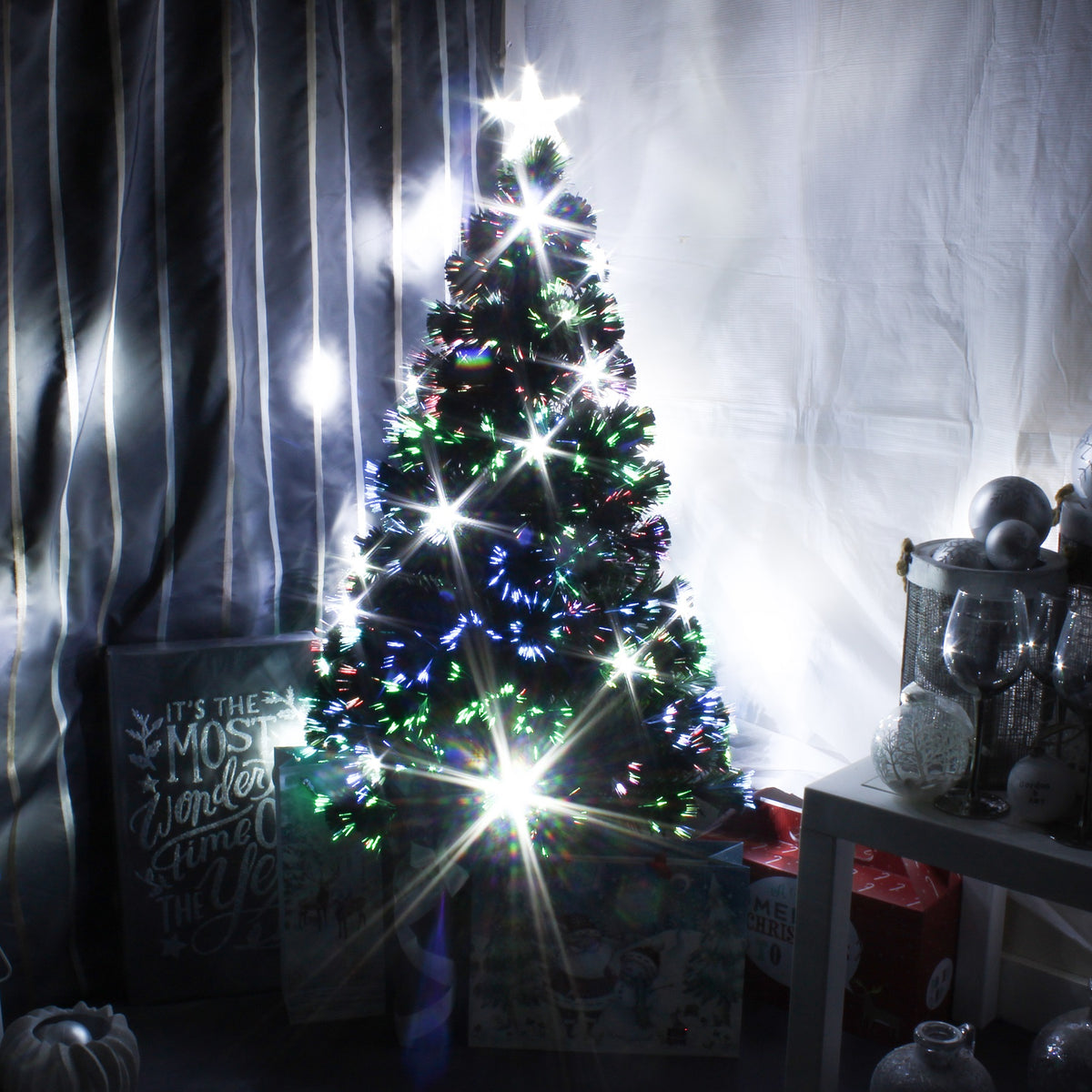 new styles 60282 2a9a9 Green Fibre Optic Christmas Tree with White LED Xmas Lights