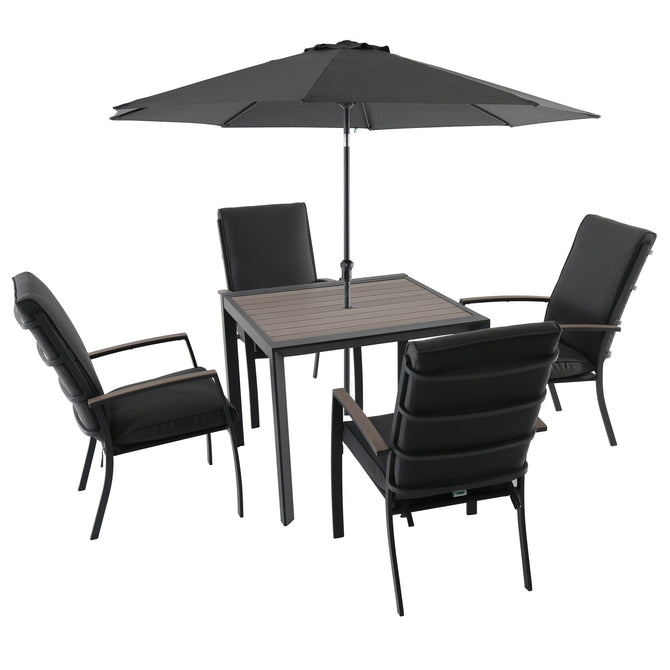 LG Outdoor Milano 4 Seat Square Garden Furniture Set with Parasol and Base