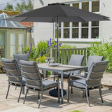 LG Outdoor Milano 6 Seat Rectangular Garden Furniture Set with Parasol and Base