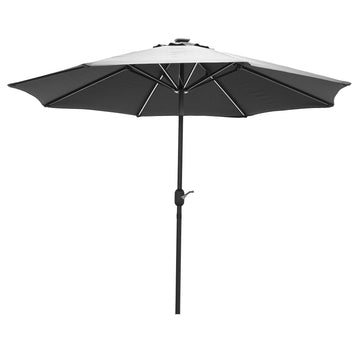 LG Outdoor Jasmine Solar-Powered 2.7m Light-Up Garden Parasol - Grey