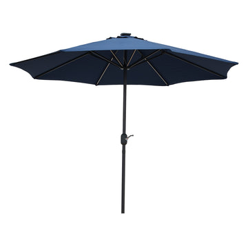 LG Outdoor Jasmine Solar-Powered 2.7m Light-Up Garden Parasol - Navy Blue