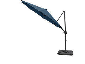 LG Outdoor Maple 3m Solar-Powered Cantilever Garden Parasol - Navy Blue