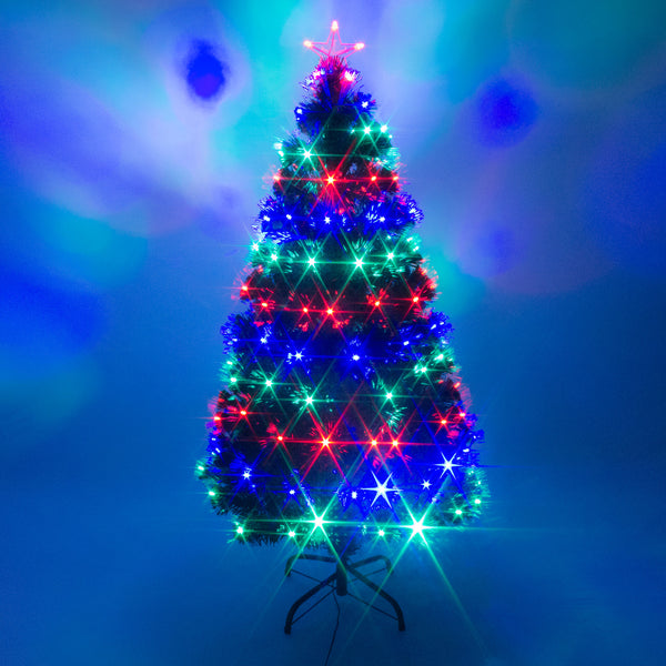 Green Fibre Optic and Multi Coloured LED Lights Christmas Tree with Remote Control - 4ft, 5ft