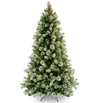 Woodbury Pine Hinged Artificial Christmas Tree with Cones, Red Berries & Snowflakes by National Trees - 7.5ft