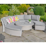 LG Outdoor Oslo Curved Modular Dining Set with Adjustable Table