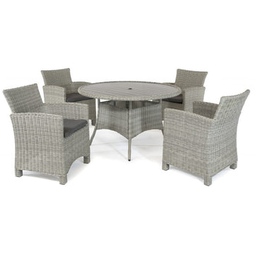 Kettler Palma White Wash Wicker 4 Seat Round Dining Set