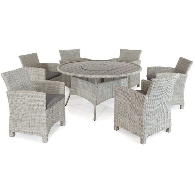 Kettler Palma White Wash Wicker 6 Seat Round Dining Set