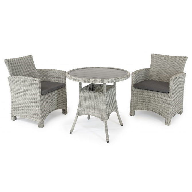 Kettler Palma White Wash Wicker 2 Seat Bistro Dining Set
