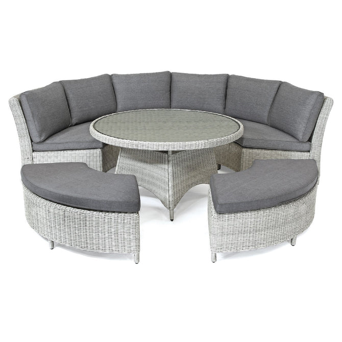 Kettler Palma Casual Dining White Wash Wicker Round Outdoor Sofa Set