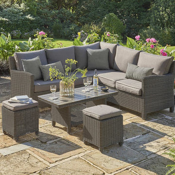 Kettler Palma Mini Corner Rattan Outdoor Sofa Set with Coffee Table