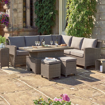 Kettler Palma Corner Left Hand Rattan Outdoor Sofa Set with Adjustable S-Q Table