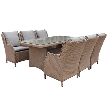 Robert Charles Boston 6 Seat Outdoor Weave Rectangular Garden Furniture Set