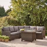 Kettler Palma Grande Corner Sofa Set with Fire Pit Table Rattan