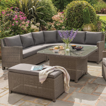 Kettler Palma Grande Corner Sofa Set with Glass Top Table Rattan
