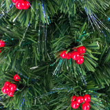 Fibre Optic Green Christmas Tree with Multi Coloured Fibre Optic Lights and Red Berries  - 2ft, 3ft, 4ft, 5ft, 6ft