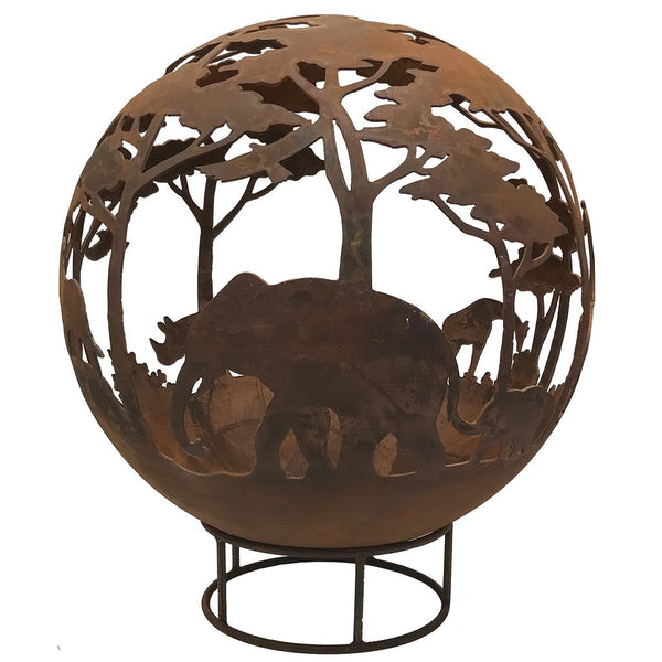 Garden Fire Ball 90cm Safari Design with Rust Finish