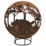 Garden Fire Ball 70cm Safari Design with Rust Finish