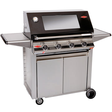 BeefEater Signature S3000E Designer 4 Burner Gas Barbecue with Stainless Steel Cabinet Trolley and Side Burner