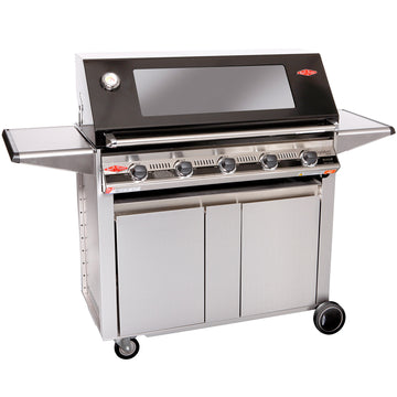 BeefEater Signature S3000E Designer  5 Burner Gas Barbecue with Stainless Steel Cabinet Trolley and Side Burner