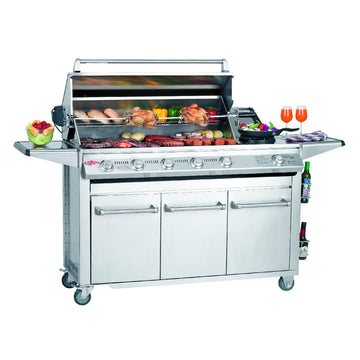 BeefEater Signature SL4000S 6 Burner Stainless Steel Gas Barbecue with Cabinet Trolley and Side Burner