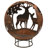 Garden Fire Ball 70cm Stag Design with Rust Finish