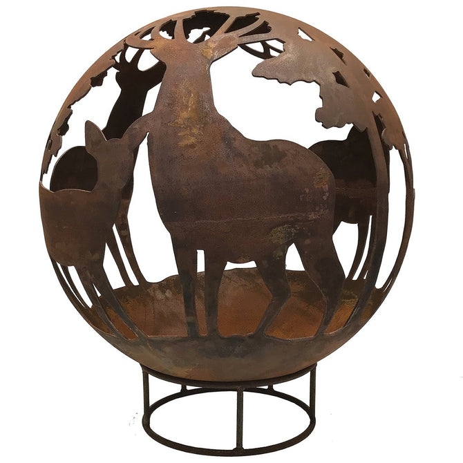 Garden Fire Ball 90cm Stag Design with Rust Finish