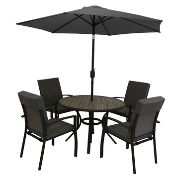 LG Outdoor Turin Aluminium 4 Seat Garden Furniture Set with Parasol