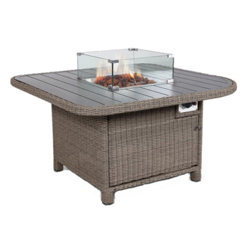 Kettler Palma Grande Fire Pit Table Aluminium Slat Top Rattan