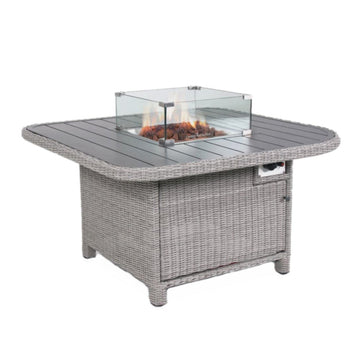Kettler Palma Grande Fire Pit Table Aluminium Slat Top White Wash