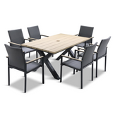 LG Outdoor Stockholm 6 Seat Dining Set with Sling Chairs