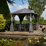 Bracken Outdoors Vintage Grey Square Garden Gazebo 3m x 3m