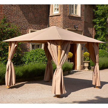 Bracken Outdoors Wood Effect Heavy Duty Square Garden Gazebo 4m x 3m