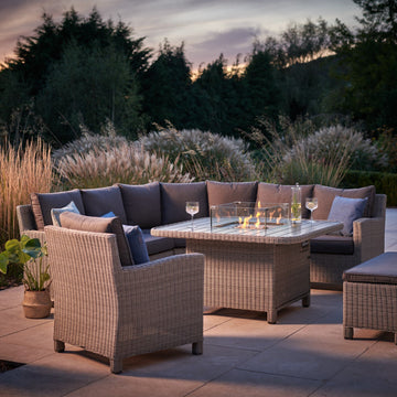 Kettler Palma Grande Corner Sofa Set with Fire Pit Table White Wash