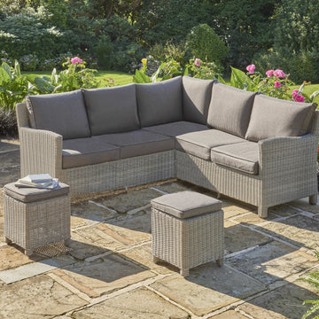Kettler Palma Mini Corner White Wash Wicker Outdoor Sofa Set