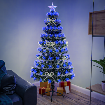 White Tipped Green Fibre Optic Christmas Tree with Blue LED Lights and White Bows - 2ft, 3ft, 4ft, 5ft, 6ft, 7ft