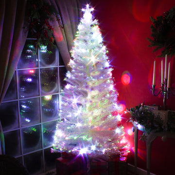 Fibre Optic White Christmas Tree with Multicoloured LED Lights - 2ft, 3ft, 4ft, 5ft, 6ft