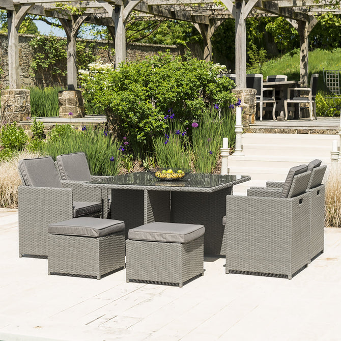 Alexander Rose Rattan Garden Furniture Cube Set 4 - 8 Seat Grey