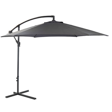 Bracken Outdoors Grey 3m Banana Cantilever Round Garden Parasol