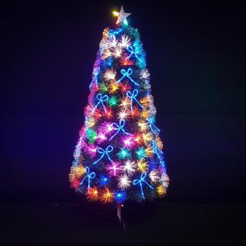 Green Fibre Optic Christmas Tree with Multi Coloured LED Lights and Blue Bows - 2ft, 3ft, 4ft, 5ft, 6ft, 7ft