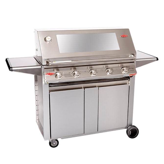 BeefEater Signature 3000S 5 Burner Gas Barbecue with Stainless Steel Cabinet Trolley and Side Burner